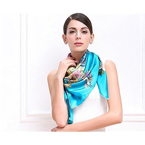 ZZHH Womens grafico stampa floreale 100% seta grande natura modello sciarpa testa collo . days blue