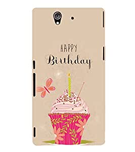 Fuson Designer Back Case Cover for Sony Xperia Z :: Sony Xperia ZC6603 :: Sony Xperia Z L36h C6602 :: Sony Xperia Z LTE, Sony Xperia Z HSPA+ (Birthday Cake Cup Cake Muffin Pink Cake Candle)