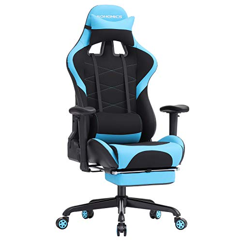 SONGMICS Gaming Stuhl Bürostuhl Schreibtischstuhl mit Armlehnen, Sportsitz Optik Schwarz-Blau RCG52BU