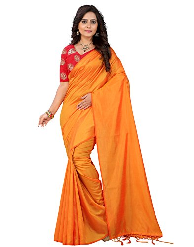 e-VASTRAM Women's Plain Soft Art silk Tassel Saree with Unstitched Embroidered Contrast Blouse, Free Size (SANAY, Yellow)