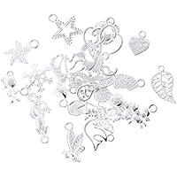 20 Gemischten Stil Herz DIY Charme Schmuck Erkenntnisse Anhänger Perlen Handwerk Silber