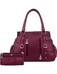 Bellina® Women's Handbag in Premium maroon color Shoulder bag and wallet for women