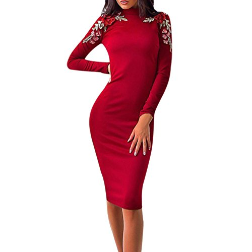 Kleid Damen Sunday Frauen Beiläufiges Stickerei Bleistift Lange Hülsen Bodycon Figurbetontes Elegant (Rot, S) (Kleid Wade-socken Der Mitte)
