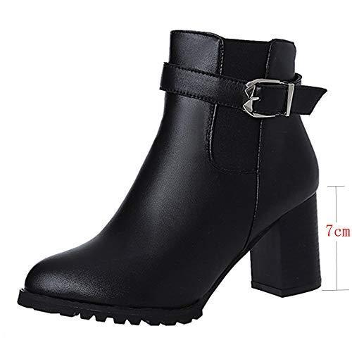 Preisvergleich Produktbild WWricotta Damen Stiefeletten Chelsea Boots mit Blockabsatz Profilsohle Flandell Kurzschaft Stiefel Freizeitschuhe High Heels Martin Stiefel Ankle Boots