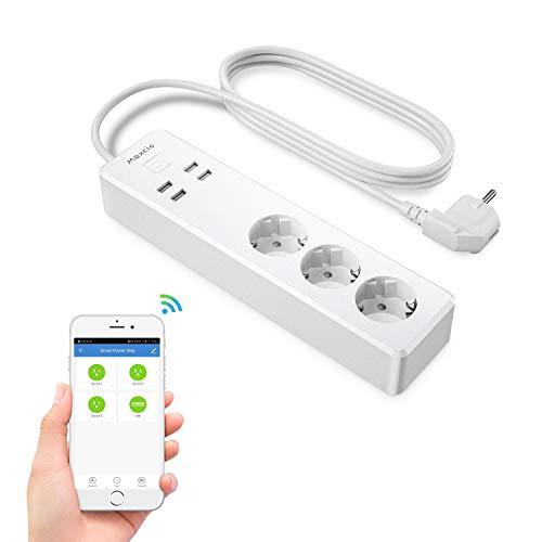 Enchufe Múltiple Inteligente, Maxcio Regleta Enchufe WiFi 3 Tomas 4 USB, Control de Voz, Control de Aplicaciones y Función de Temporización, Compatible con Alexa/Google Assistant/IFTTT
