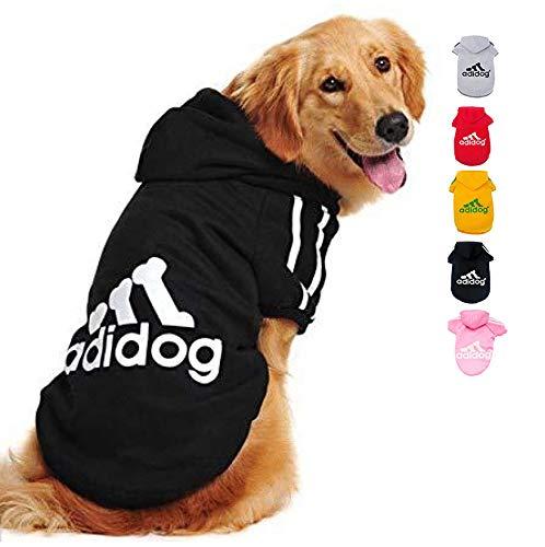 Ducomi Adidog Hunde Hoodie Kapuzenpullover aus weicher Baumwolle XS bis 8XL Versand aus DE (XS, Schwarz)