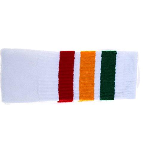 Choobes (Unisex) 22 Zoll Knie High White Tube Socken mit Grün/Gold/Red Stripes (Gestreifte Hohe Socken Gold)
