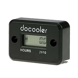 Timetop Jauge numérique LCD Compteur horaire pour la course Moteur à essence Moto VTT Faucheuse motoneige (Noir / vert / rouge / jaune / bleu / orange 6 couleurs disponibles) (Noir)