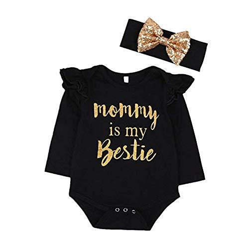 CIPOPO Baby Kleidung Neugeborenen Mädchen Mommy is My Bestie Lange Ärmel Bodysuit Strampler + Stirnband Overall Playsuit Romper Outfit (0-6m, - Kostüme Bestien