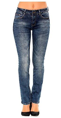 Nina Carter Damen straight stretch Jeans denim blau stone washed jeanshose größe 38