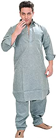 Exotic India Plain Pathani Kurta Salwar with Thread Embroidery on Neck - Color Dusty BlueGarment Size 36