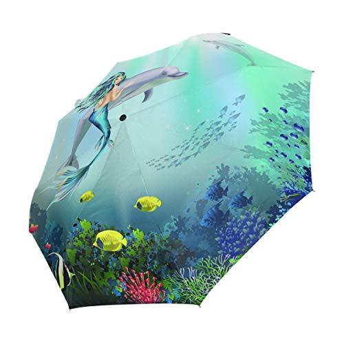 XiangHeFu Regenschirm, Unterwasserwelt mit Delfinen und Meerjungfrau,