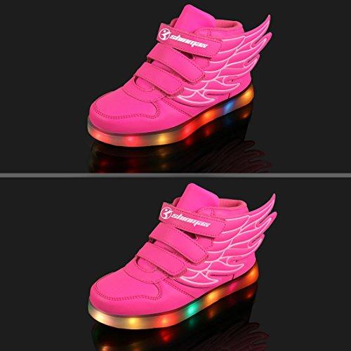LED Chaussures,Angin-Tech Ange Série Led Chaussure 7 Couleurs USB Rechargeable Clignotant Chaussures Basket Lumineuse de Garçon et Fille pour Noël Halloween avec CE Certificat Rose