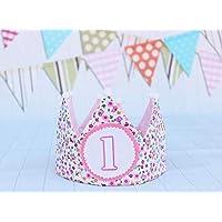 Corona cumpleaños niña flores corona de tela decoración primer cumpleaños bebé