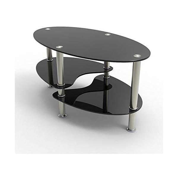 Uenjoy Table Basse Table De Salon En Verre Ovale Noir Avec Pieds