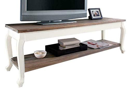 Meinposten. Lowboard TV Tisch Kommode Country weiß braun Landhaus TV-Bank 133x34x22 cm (Hampton Möbel)