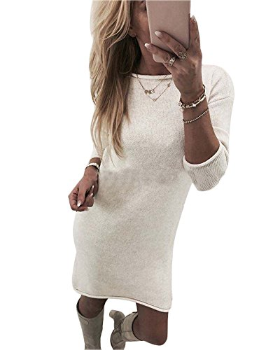 Minetom Damen Pullover Kleider Winterkleider Kleid Strickkleider Langarm Mode Stricksweat Strickpullover Lose Sweatkleid Minikleid Weiß DE 38
