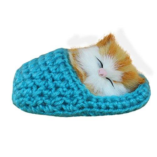 The Simulation Cat Plüsch-Spielzeug, Mamum auf Lager Simulation Katze Vocalize Meow Meow Hausschuhe Kätzchen Plüsch Spielzeug Puppe Einheitsgröße himmelblau