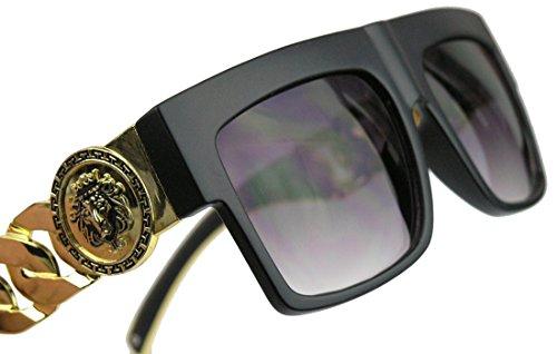GIANNI MILANO Flat Top Sonnenbrille / Nerdbrille oversized Gold Chain FARBWAHL FGC (Matt Schwarz /...