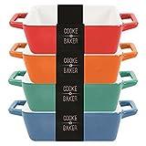 Oval Set de 4fuentes pequeñas para tapas, lasaña, y platos al horno (H4.5x D12X D9.5cm) + free mason cash de bambú espátula/Turner,