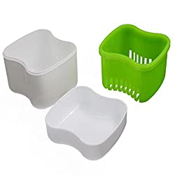 Teeth Box Organizer, Transer® New Denture Bath Box Case Dental False Teeth Storage Container Rinsing Basket Dental Care Holders (Green)