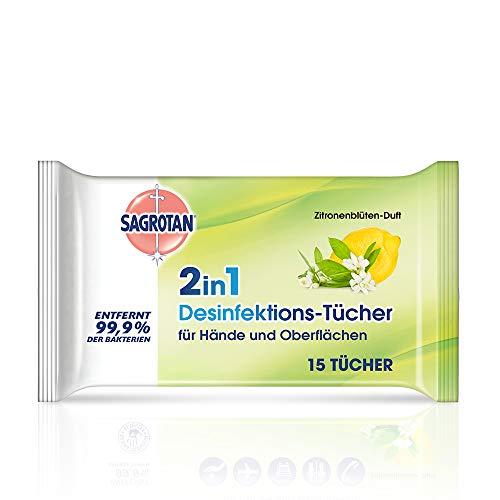 Sagrotan 2in1 Desinfektionstücher mit Zitronenblüten-Duft - Zum Desinfizieren von Händen und Oberflächen - 1 x 15 Feuchttücher in wiederverschließbarer Verpackung