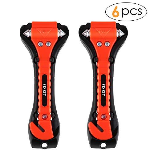 FIXKIT Auto Hammer, Fenster Nothammer, Lebenshammer mit Gurtschneider geeingenet für Auto, Bus-orange mit Zwei schwarz Halterung (6)