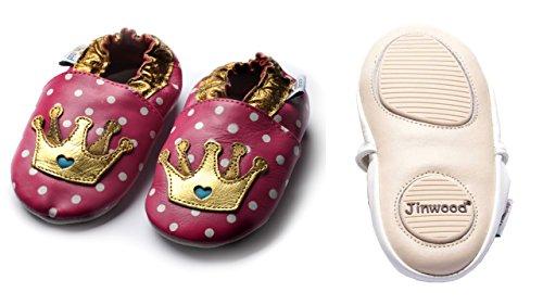 Jinwood designed by amsomo - TIARA fuchsia - mini shoes - Krone - Hausschuhe - Lederpuschen - Krabbelschuhe Pink