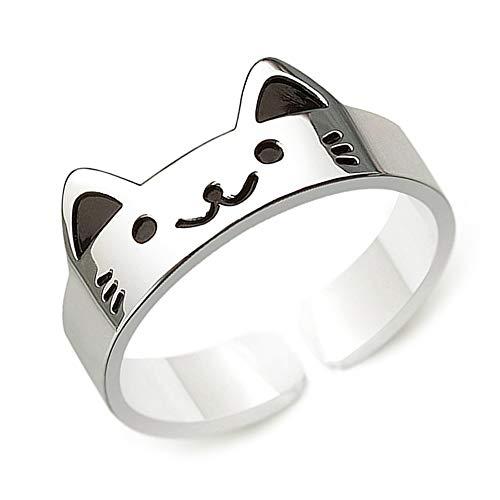 Clever Schmuck Silberner Mädchen Ring Katze lustig mit Gesicht teils schwarz lackiert glänzend STERLING SILBER 925 universell einstellbare Größe für Kinder