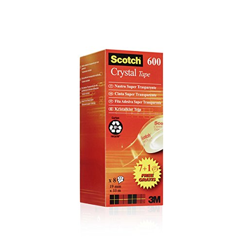 Scotch 6-1933R8 Klebeband Crystal Promotion Polyolefin Blend, 33 m x 19 mm, 8 Stück Crystal Tape