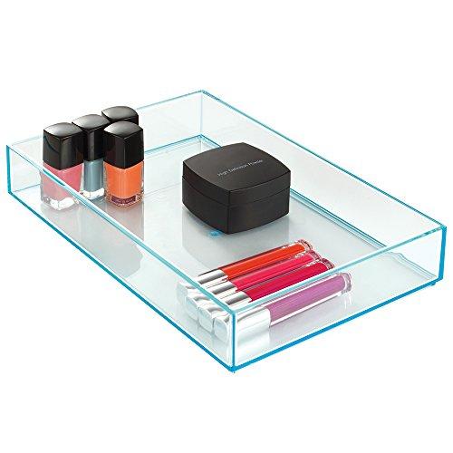 iDesign 02806EU Clarity Stapelbarer Schubladen-Organizer mit Leuchtkante, Groß, türkis