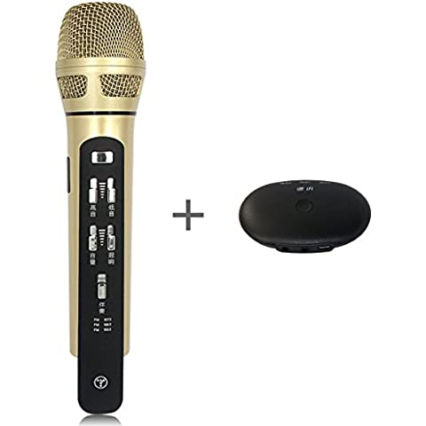 Tuxun K9 Handheld Microfono Wireless con e senza filo Karaoke-Feste Versione Aggiornata + FM Ricevitore