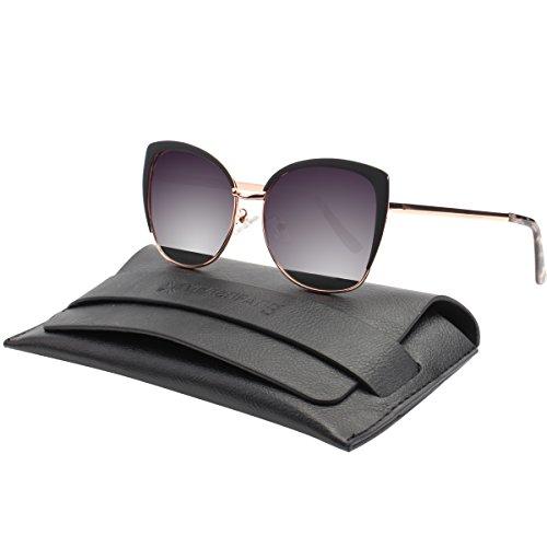 Vivienfang Halbrand übergroßen Katzenaugen Sonnenbrille Women's Polarized Oversized Sunglasses 86447B Black