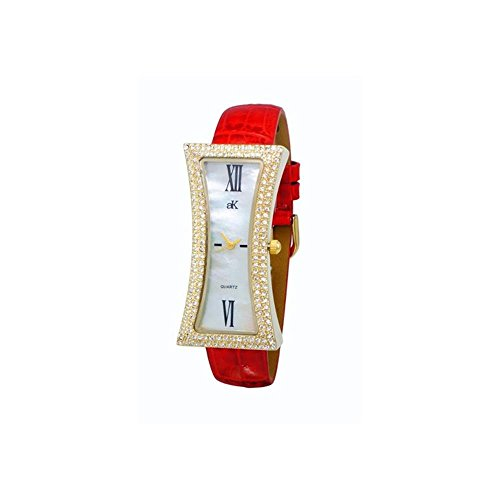 ADEE Kaye Women's Curvy RED Leather Band Brass CASE Quartz Watch AK9715-LG