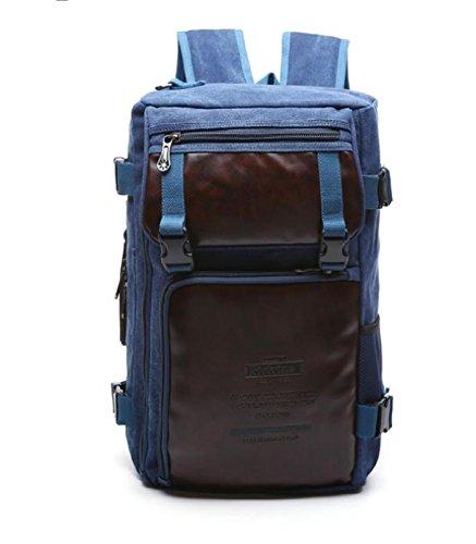 &ZHOU Borsa di tela, Uomini e donne grande capacità multi-purpose borsa tracolla borsa Messenger Borsa zaino borsa di tela , deep blue deep blue