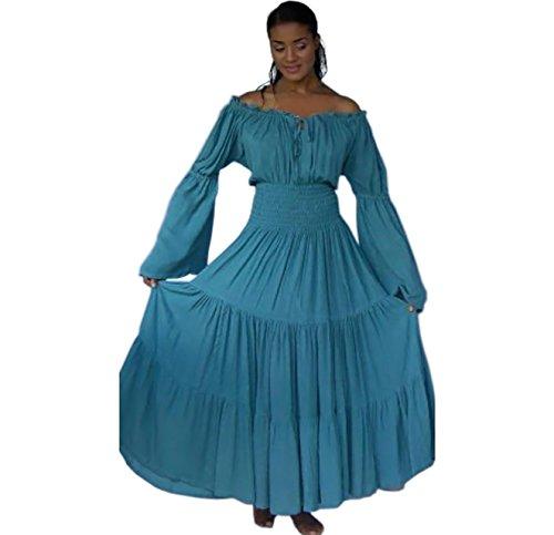 LOTUSTRADERS Damen Boho Zigeuner Kleid Blau