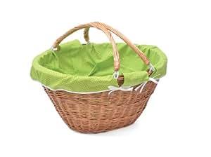 Aumuller Korbwaren Panier pour pelotes de laine avec anses repliables au Design à pois Vert