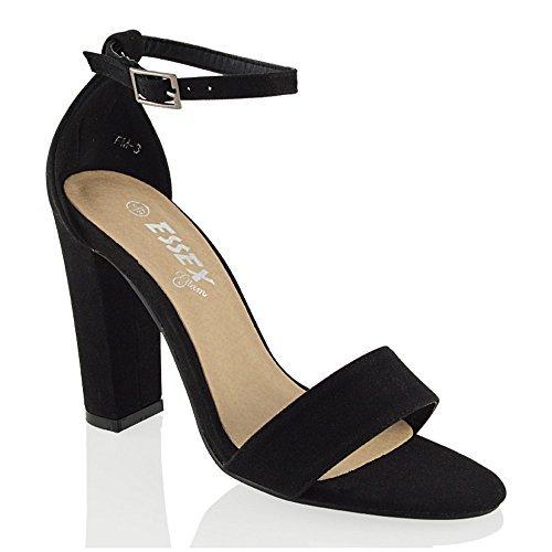 ESSEX GLAM Ankle Strap Heels, Damen Knöchel-Riemchen, Schwarz - Schwarzes Wildlederimitat - Größe: 42 (Faux Suede Strappy Wedges)