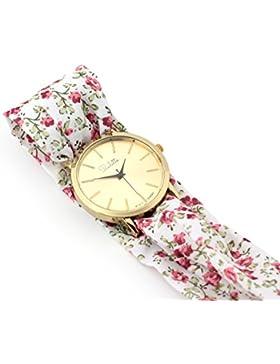 Paulette Uhr Classic Floral & White: Schöne 39mm Armbanduhr mit Stoffband für Damen, besonderes Wickelarmband...