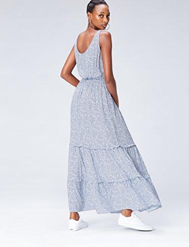 FIND Women's Ditsy Tiered Maxi kleid Blau (Blue)