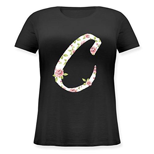 Anfangsbuchstaben - C Rosen - Lockeres Damen-Shirt in großen Größen mit Rundhalsausschnitt Schwarz