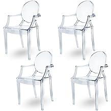 Espíritu humo Ghost silla de comedor, sillón funda estilo moderno Louis Kartell Philippe Starck, juego de 4 sillas (transparante)