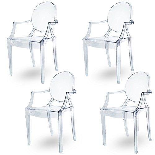 Damiware Lot de 4 Plexiglas Acrylique Ghost Chair Accoudoir Chaise Spirit Transparant. Illustration en Transparent (KRISTAL)