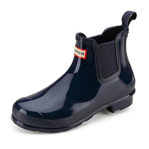 HUNTER WFS1043RGL-BLK Damen Sportiver Chelsea Boot aus Gummi Gummisohle Schlupf, Groesse 42, blau (Hunter Boot Größen)