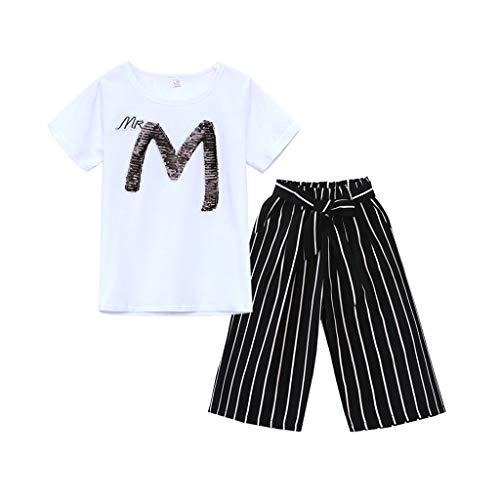 Lookhy Kinder-Kit, Mädchen M-Wort Pailletten-Set (3-13Y) Buchstabe Pailletten Kurze kurzärmelige T-Shirt Top und gestreifte Schleife weitbeinige Hose zweiteiligen Set