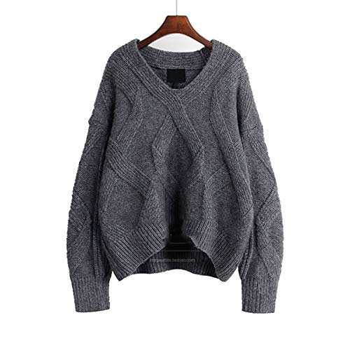 Cashmere Denim Pullover (FWJ-clothes Dame Pullover Pullover mit V-Ausschnitt Strickpullover Fashion Solid lose Chunky Sweater Top-Paare mit Jeans, Leggings,Gray,M)