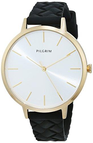 Pilgrim Damen Armbanduhr, Analog, Quartz, gold + schwarz Silikon Aster 701742130