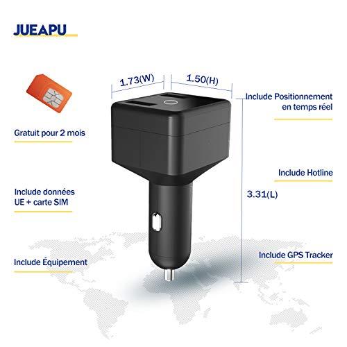 Traqueur GPS Voiture Jueapu GPS Tracker Chargeur de Voiture Time-réel localisateur avec Gratuit pour 2 Mois de données et APP Mise à Jour GPS en 10 Secondes pour...