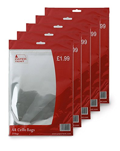 Papertent A4 Cello Bags, x 5 PACKS