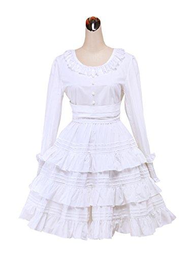 antaina Weiß Baumwolle Spitze Rüsche süß Klassiker viktorianisch Knielang Elegant Lolita Cosplay Kleid,XS (Lolita Kleid Ärmel)